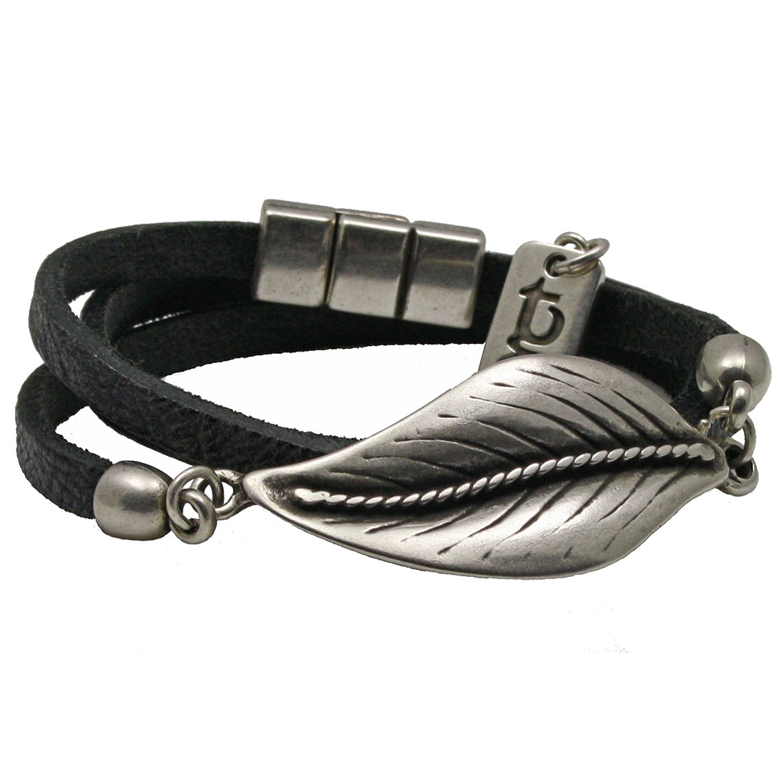 leren armband roma - zwart | terra genova